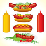 Hot dog set. Hot dogs illustrations assorted variants and forms - all objects separated. To see more - please visit at my gallery Stock Images