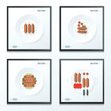 Hot dog set 4 style Royalty Free Stock Images