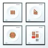 Hot dog set 4 style Royalty Free Stock Images