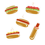 Hot dog set. Vector Royalty Free Stock Images