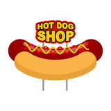 Hot dog shop signboard. Big juicy sausage and bun name for fast. Food restaurant. Traditional American food Royalty Free Stock Image