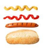 Hot dog składniki w powietrzu Zdjęcie Royalty Free