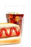 Hot dog and soda Stock Photo
