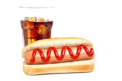 Hot dog and soda Stock Photography