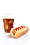 Hot dog and soda royalty free stock photography