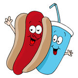 Hot Dog and Soda Characters Royalty Free Stock Images