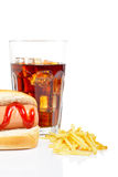 Hot dog, soda and french fries Royalty Free Stock Photo