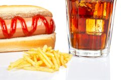 Hot dog, soda and french fries Royalty Free Stock Photos