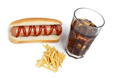 Hot dog, soda and french fries Royalty Free Stock Image
