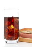Hot dog and soda glass Stock Photo