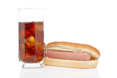 Hot dog and soda glass Stock Photography