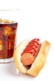 A hot dog and soda glass Stock Photos