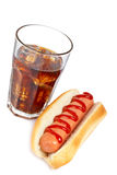 A hot dog and soda glass Royalty Free Stock Image