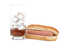 Hot dog and soda glass Royalty Free Stock Images