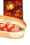 Hot dog and soda glass Royalty Free Stock Photography