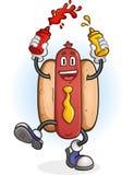 Hot Dog Squirting Ketchup and Mustard Cartoon Character Royalty Free Stock Photo