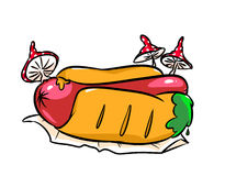 Hot dog stale caricature Stock Photos