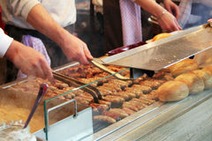 Hot dog Stall in Germany. Instead of hotdogs, fried sausages (Bratwurst) are being served in this hot dog stall in Germany stock photo