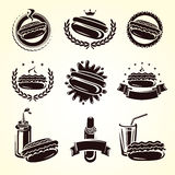 Hot dog stamps and labels set. Vector Stock Photos