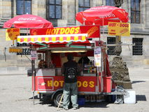 Hot Dog Stand. A Hot Dog Stand in a market square. This image could be used for any article relating to fast food, food concessions etc royalty free stock photo