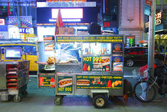 Hot dog stand. Fast food hot dog stand vendor selling on the streets of New York City stock photos
