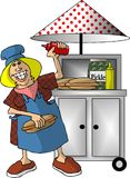 Hot Dog Stand. This illustration that I created depicts a woman selling hot dogs at a portable kiosk Stock Images