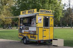 Hot dog stand in the vondelpark in Amsterdam Royalty Free Stock Photos