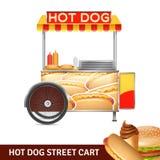 Hot Dog Street Cart Illustration Stock Images