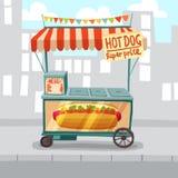 Hot Dog Street Shop. Hot dog cart shop on city street background vector illustration stock illustration