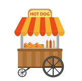 Hot dog street shop, cart. icon flat, cartoon style. Fast food concept isolated on white background. Vector illustration Stock Images