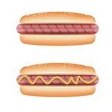 Hot-dog sur le fond blanc Photographie stock libre de droits