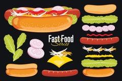 Hot-dog sur le fond noir illustration de vecteur
