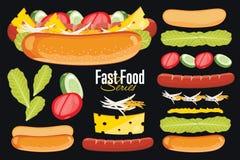 Hot-dog sur le fond noir illustration stock