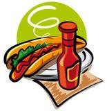 Hot dog and tomato ketchup Stock Photography