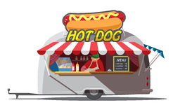 Hot dog trailer. Fast food. . Vector illustration Royalty Free Stock Images
