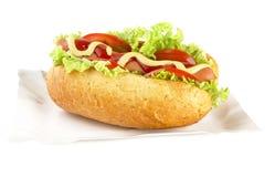 Hot dog on the tray on white background Stock Photography