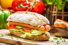 Hot dog with two sausages and fresh vegetables Royalty Free Stock Photo