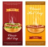 Hot dog ulotka ustawiający wektor realistyczny Szczegółowi 3d ilustraci układy royalty ilustracja