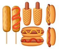 Hot Dog Variations. Sausage, Bratwurst and other  illustrations of Junk Food Fast food restaurant menu colorful icons collec. Tion  illustration. Web site page Royalty Free Stock Images