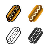 Hot dog vector colored icon set Royalty Free Stock Images