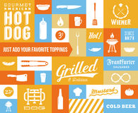 Hot Dog Vector Icon and Typography Set. Vintage. Retro Signs or Labels with Design Elements. Sausages, Knife, Beer, Grill, etc Stock Photo