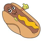 Hot dog vector illustration. Hot dog with smiling face - vector illustration Royalty Free Stock Images