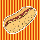 Hot Dog. Vector illustration. Hand drawing. Sticker. Hot Dog. Vector illustration. Hand drawing Royalty Free Stock Photography