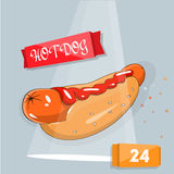 Hot dog vector illustration. Icon for fast food and the site. To print price tags, booklets. Vector illustration. Bright, modern design for cafes and Stock Photo