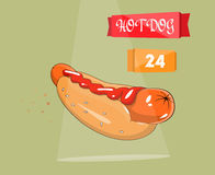 Hot dog vector illustration. Icon for fast food and the site. To print price tags, booklets. Vector fast food icon,  restaurant sign Royalty Free Stock Image