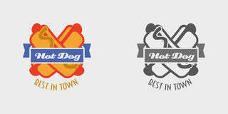Hot dog vector logo or label, fast food, junk food. Royalty Free Stock Photo