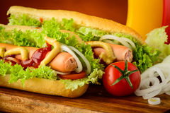 Hot dog and vegetables Royalty Free Stock Image