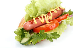 Hot dog with vegetables Stock Photography