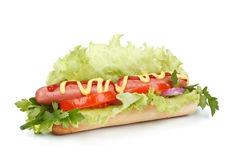 Hot dog with vegetables Stock Image
