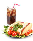 Hot dog with vegetables and cola Royalty Free Stock Photos